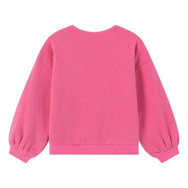 Детска блуза ватирана с ефектна апликация Love в розово