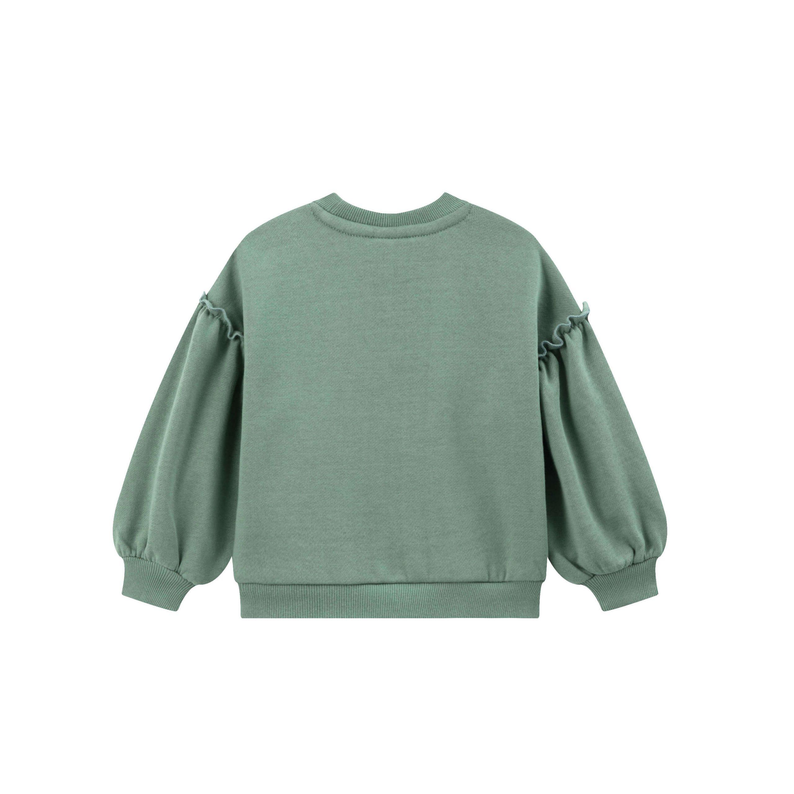 Детска ватирана блуза с щампа момиче с еднорог в зелено
