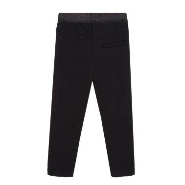 Детски ватиран панталон с бродерия в черно