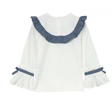 Детска официална риза с кръгла яка с набор в бяло