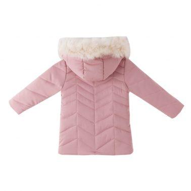 Зимно яке с качулка с пух в розово