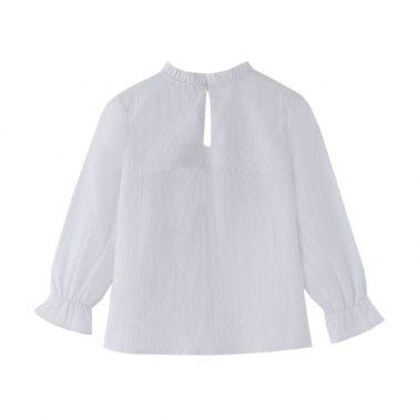 Детска елегантна риза с панделка в бяло