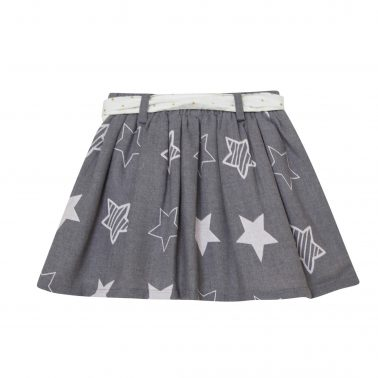 Детска пола с принт на звезди и текстилен колан в сиво