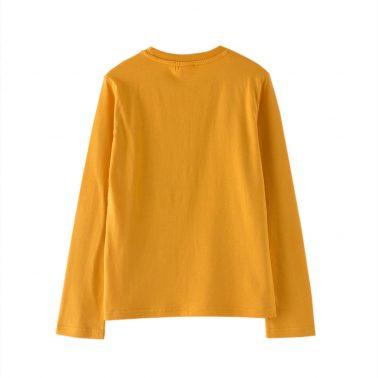 Детска блуза с щампи и апликации в оранжево