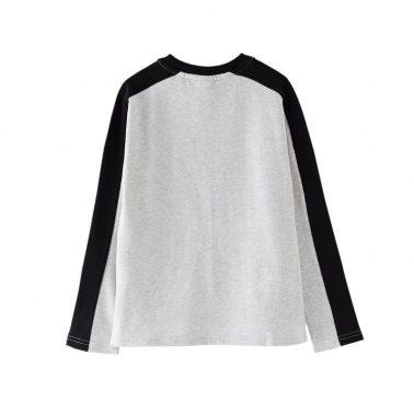 Детска блуза с щампа и контрастен кант в светъл меланж
