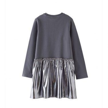 Детска рокля с апликация звезда и сребриста долна част в сиво