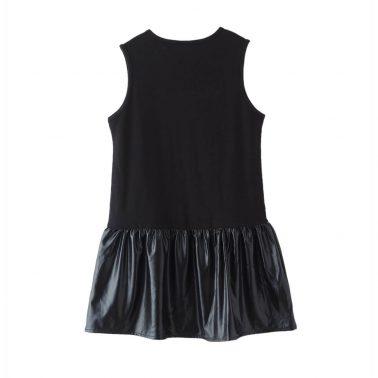 Детска рокля с щампа звезда в черно