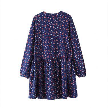 Детска разкроена рокля с принт на цветя в синьо