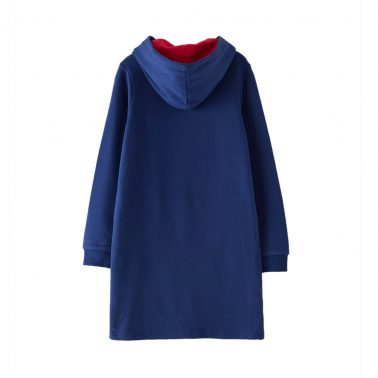 Детска ватирана рокля с качулка и апликация сърце в синьо