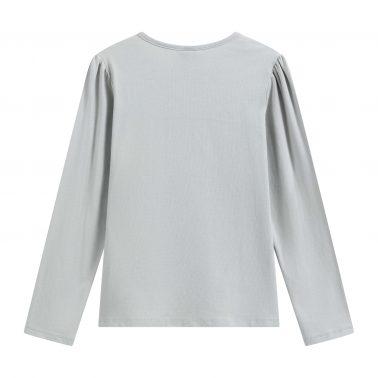 Детска блуза с щампа лебед и тюл в сиво