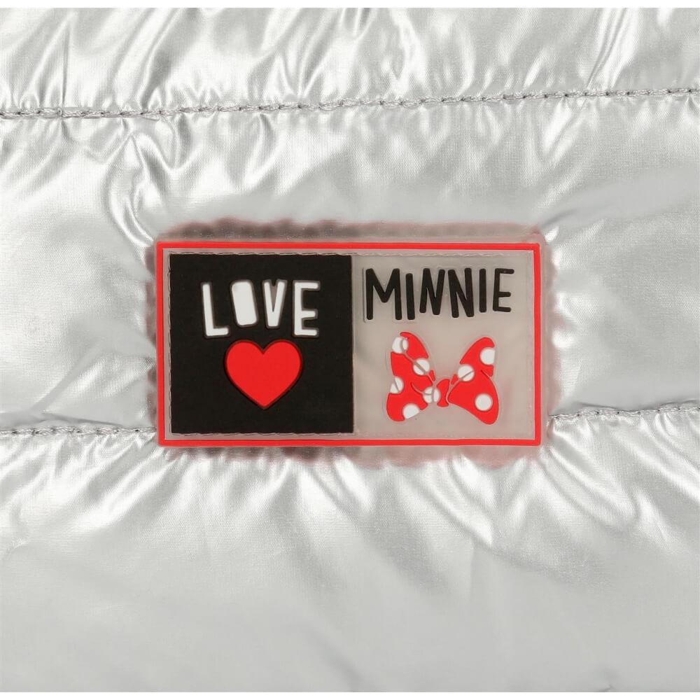 Детска малка раница металик с апликация Мини Маус