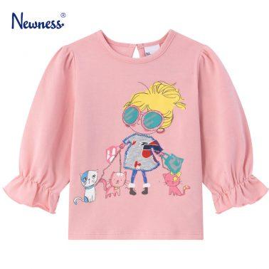 Детска блуза с щампа момиче с котки в розово