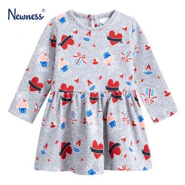 Детска ватирана рокля разкроена на сърчица и мъфини в цвят сив меланж