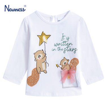 Детска блуза с щампа катерички в бяло