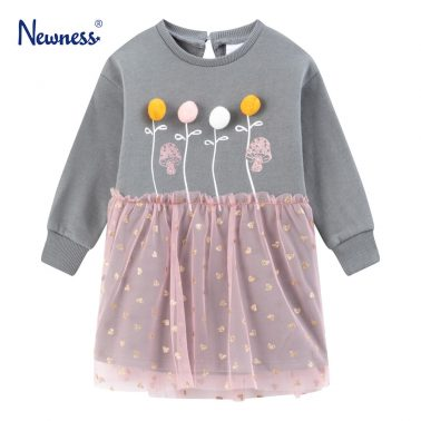 Детска ватирана рокля с помпони и тюл в сиво