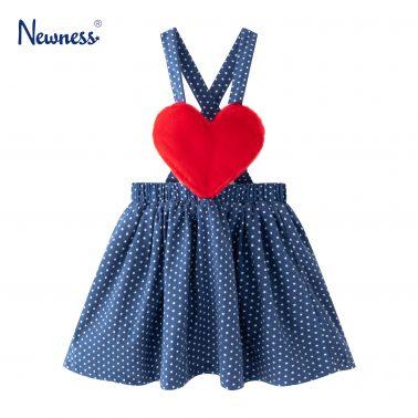 Детски сукман с плюшено сърце и точки в синьо