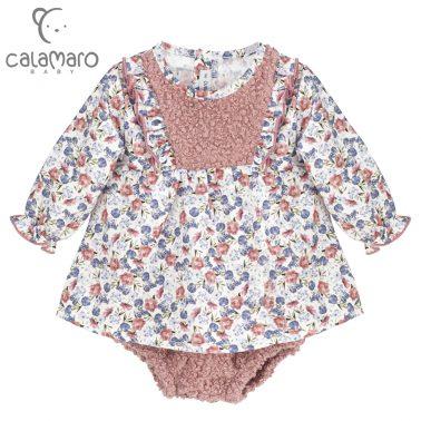 Комплект блуза с къдри и десен на цветя и гащи от букле в розово