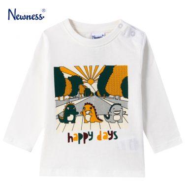Детска блуза с щампа на динозаври в бяло