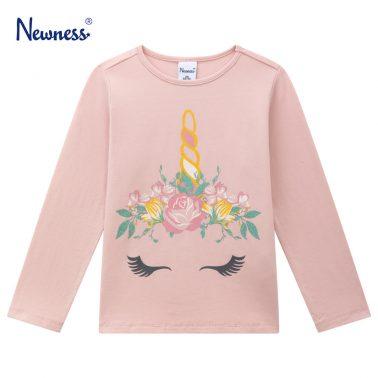Детска блуза с щампа на цветя и еднорог в розово