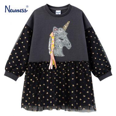 Детска ватирана рокля с апликация еднорог с пайети в сиво