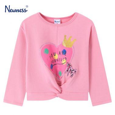 Детска блуза с щампа сърце с коронка и усукана долна част в розово