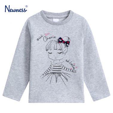 Детска блуза с щампа момиче и декоративна панделка в сив меланж