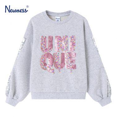 Детска ватирана блуза с надпис с пайети в цвят сив меланж