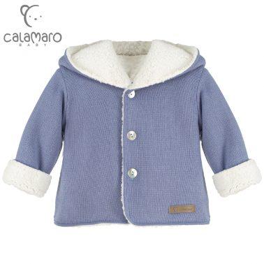 Детска плетена жилетка със силиконов полар в синьо
