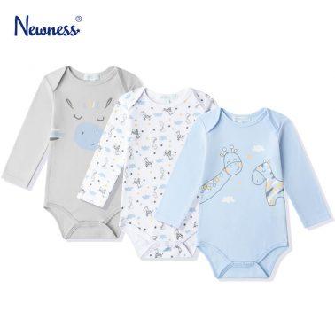 Бебешко боди комплект от 3 броя с дълги ръкави и щампи на жирафи в светло синьо