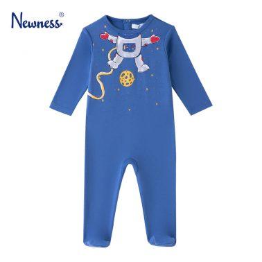 Бебешко боди с дълъг ръкав и щампа на космонавт в синьо