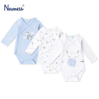 Бебешко боди комплект от 3 броя с щампа на зебри в бяло