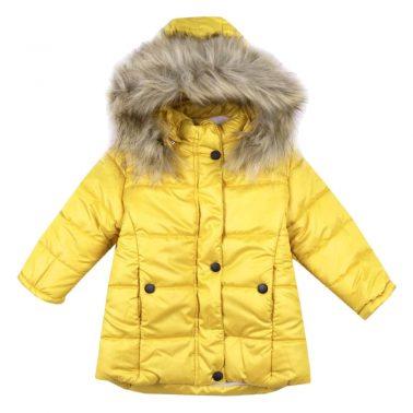 Детско зимно яке с пух на качулката в жълто