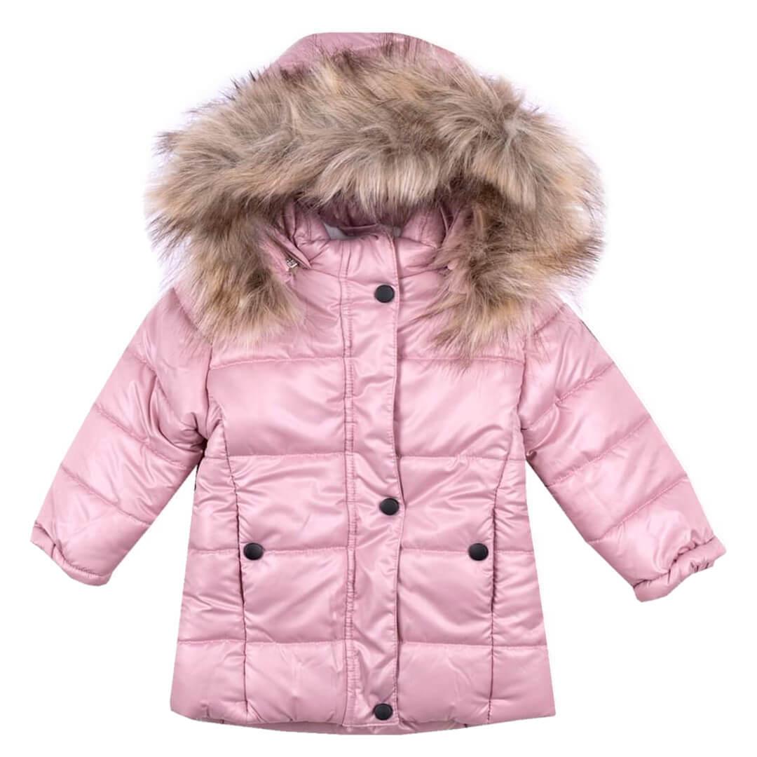 Детско зимно яке с пух на качулката в лилаво