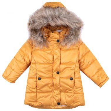 Детско зимно яке с пух на качулката в оранжево