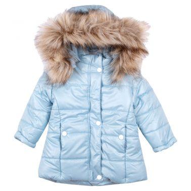 Детско зимно яке с пух на качулката в светло синьо