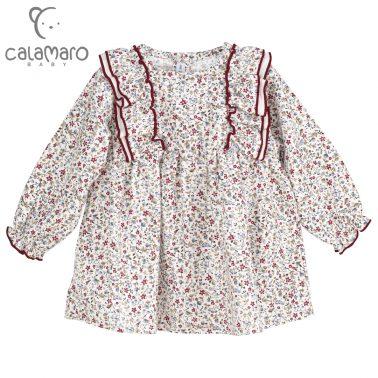 Детска рокля с десен на цветчета и къдри в бордо