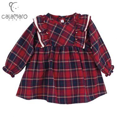 Детска рокля на каре с къдри в червено