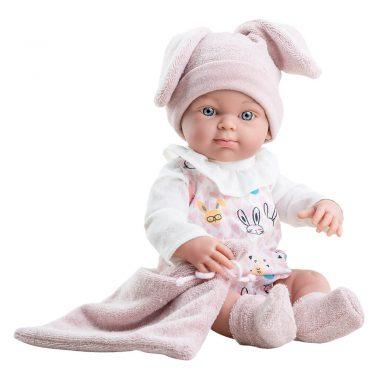 Кукла бебе с шапка със заешки ушички 32см