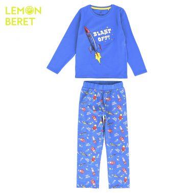 Детска пижама с щампа ракета в синьо