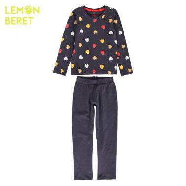 Детска пижама с принт на сърчица в синьо