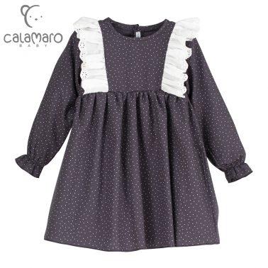 Детска рокля на точици с къдри в сиво