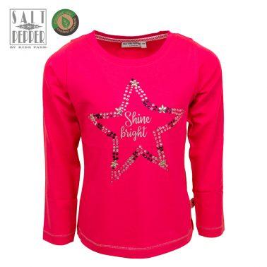 Детска блуза с щампа звезда и камъчета в цвят малина