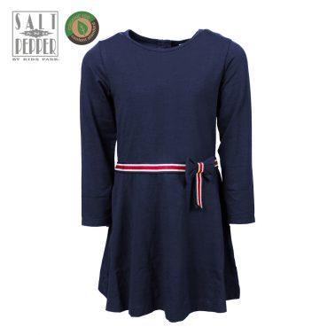 Детска рокля с панделка на талията в синьо