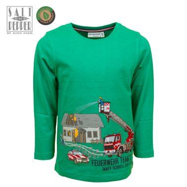 Детска блуза с щампа пожарникари в зелено