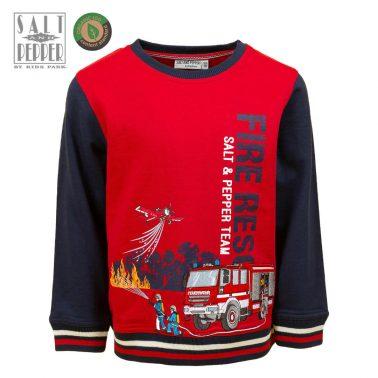 Детска блуза с щампа на пожарникари в червено