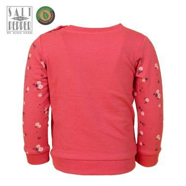 Детска ватирана блуза с бродерия на птички и цветя в розово