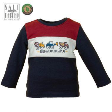 Детска блуза с щампа на камиончета в тъмно синьо
