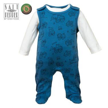 Бебешки комплект гащеризон и блуза с принт на тракторчета в тъмно синьо