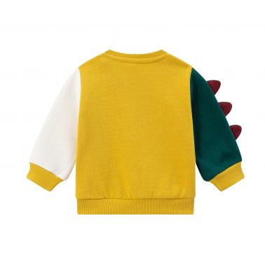 Детска ватирана блуза с апликация динозавър в жълто