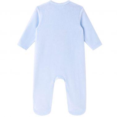 Бебешки гащеризон от силиконов полар с апликация жираф в светло синьо